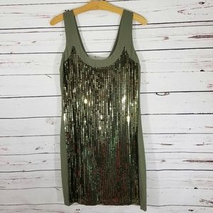 French Connection Sequin Shift Dress Green